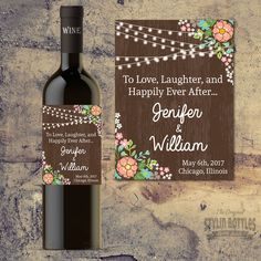 Cheers to the Bride and Groom! What better way to serve wine to your guests tables than a personalized bottle of wine to toast to! Personalized Labels, Custom Labels, Wedding Groom, Rustic Wedding, Bride Groom, Reception Table Decorations, Wedding Decorations, Barefoot Wine, Wedding Wine Bottles