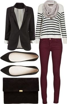 Burgundy Jeans Striped Tee/sweater and black Blazer. Inspiration to wear my st - Jeans Black - Ideas of Jeans Black - Burgundy Jeans Striped Tee/sweater and black Blazer. Inspiration to wear my striped sweater/sweatshirt with my burgundy pants Mode Outfits, Fall Outfits, Casual Outfits, Smart Casual Work Outfit, Casual Attire, Office Outfits, Dress Casual, Casual Wear, Casual Shirts