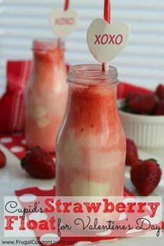 for a yummy after school or February Valentine' s Party Treat! Ingredients: Vanilla Ice Cream Strawberry Soda Whipped Cream (optional) Maraschino Cherries (optional)  Directions: Place 2 scoops of vanilla ice cream in a glass. Slowly add strawberry soda - it will foam a lot! Optionally you can add whipped cream and a cherry to the top. Serve with long spoon and straw. Happy eating – Enjoy!