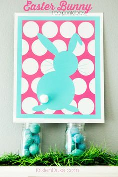 Polka Dot Easter Bunny Free Printables in many colors.   easter printable   easter decor   spring decor   www.Capturing-Joy.com