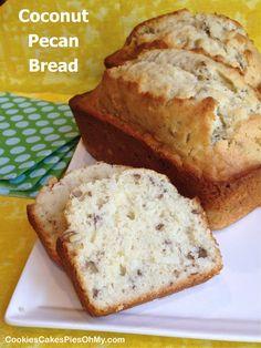 Sweet Loaf Recipe, Pecan Bread Recipe, Pecan Recipes, Coconut Recipes, Coconut Pecan Cookies, Pecan Cake, Great Desserts, Delicious Desserts, Yummy Food
