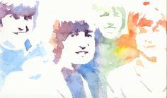 """""""here comes the sun"""" stencil y acuarela sobre papel fabriano"""