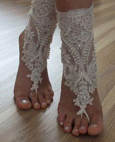 beach shoes, FREE SHIP Unique design, bridal sandals, lariat sandals, wedding bridal, ivory accessories, wedding shoes, summer wear