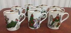 VTG 1982 Fitz And Floyd Deck The Halls Christmas Mugs Lot Of 8 153 #FitzFloyd