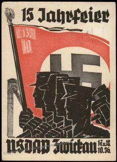 3rd Reich NSDAP 1936 Zwickau Saxony 15th Anniversary Propaganda Card