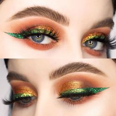 Eye Makeup: 18 Trendy Makeup Ideas For Almond Eyes. Dramatic Eyeliner, Gold Eyeliner, How To Apply Eyeliner, No Eyeliner Makeup, Eyeliner Pencil, Glitter Eyeshadow, Almond Eye Makeup, Almond Eyes, Cat Eyes