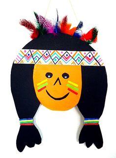 Indianer Kopf aus Papier und Karton - Fasching-basteln - Meine Enkel und ich - Made with schwedesign.de