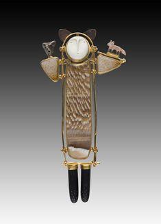 Carolyn Morris Bach- 18k gold, ebony, hand carved elements