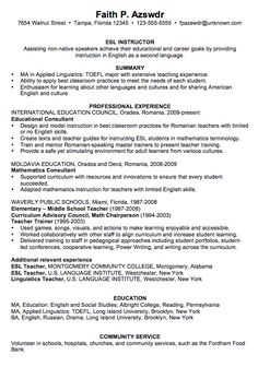 Example of a TESL Instructor Resume | Teaching English as a Second ...