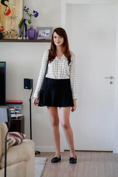 Look do dia: Camisa quadriculada 		   por Lia Camargo | Just Lia 		   		   - http://modatrade.com.br/look-do-dia-camisa-quadriculada