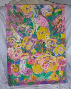 """Floral Abstract Impressionism Wild Flowers 18x24"""" Original painting Signed by me #Impressionism"""