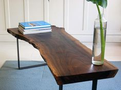 Walnut slab table from tothestuds.files.wordpress.com
