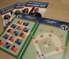 We create custom wedding programs for your baseball themed wedding with your Wedding Party in the starting lineup.  #stwdotcom  #baseballwedding
