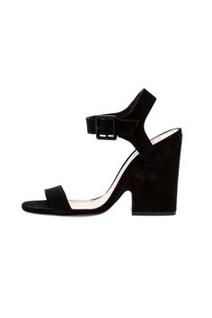 "Black nubuck heels with covered wedge and ankle buckle closure.    Heel Height: 4""   Baronina Heel by Schutz. Shoes - Pumps & Heels - Open Toe Shoes - Pumps & Heels - Black Shoes - Pumps & Heels - High Heel California"