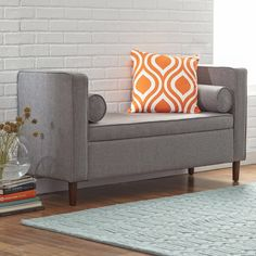 Features:  -Storage bench.  -MDF frame.  Bench Type: -Entryway bench/Bedroom bench.  Seat Material: -Fabric.  Pattern: -Solid.  Style (Old): -Contemporary. Dimensions:  Overall Height - Top to Bottom: