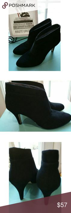 Adrienne Vittadini 10M Black Suede Ankle Boots These black suede boots have an elegant profile with curves and a 3 1/2 in. heel. It has a little cushion in the front to make them a comfortable option. Lovely. New w/o Box. Adrienne Vittadini Shoes Heeled Boots