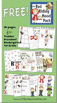"""""""Little Red Riding Hood"""" Theme Free Printable Pack that holds 56 pages of learning activities for toddler, preschool, kindergarten, and grade. Free Preschool, Preschool Worksheets, Toddler Preschool, Preschool Alphabet, Alphabet Crafts, Free Worksheets, Pre Writing Practice, Fairy Tales Unit, Fairy Tale Theme"""