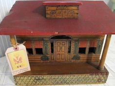 Antique FOLK ART DOLL HOUSE with Pyrographed Designs & Great Colors!