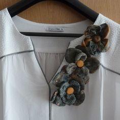 Broches fleurs en coton indien ocre, vert, kaki