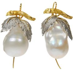 Baroque Pearl Earrings With White And Yellow Gold Leaf Design Tops | From a unique collection of vintage dangle earrings at http://www.1stdibs.com/jewelry/earrings/dangle-earrings/