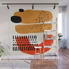 Mid Century Modern Abstract Minimalist Retro Vintage Style Fun Playful Ochre Yellow Ochre Orange Sha Wall Mural by enshape - With our Wall Murals, you can cover an entire wall with a rad design – just line up the panels an - Mural Art, Wall Murals, Interior And Exterior, Interior Design, Kitchen Interior, Diy Wall, Painting Inspiration, Art Inspo, Wall Design