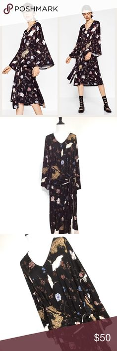 "Zara Trafaluc Kimono Tiger oversize dress medium Zara Trafaluc kimono dress tiger japanese printed crane cherry blossom oversize roomy medium tea length bust: 24"" flat (48"") length: 42""  id: zsln7 Zara Dresses"