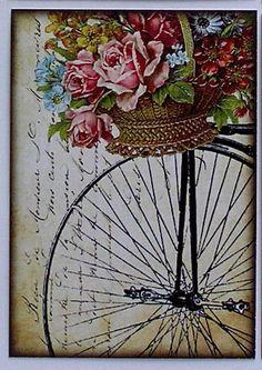 Antique Bicycle with Basket of Roses Digital Collage Sheet Decoupage Vintage, Vintage Diy, Decoupage Paper, Vintage Labels, Vintage Ephemera, Vintage Cards, Vintage Paper, Vintage Postcards, Vintage Bikes