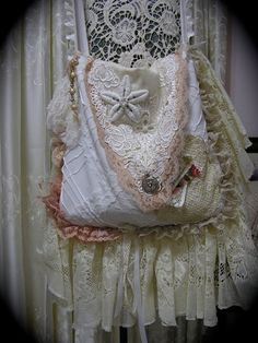 Victorian Style Bag, handmade shabby and chic, shabby cottage chic, romantic, white creme pink cotton bag, lace embellishments