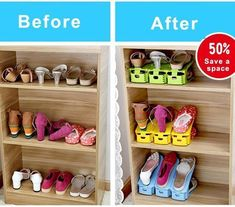 Easy Magic Shoes Organizer-Double your shoe storage space in a snap! Shoe Box Organizer, Shoe Rack Organization, Shoe Storage, Storage Rack, Storage Spaces, Organization Ideas, Organising Ideas, Shoe Racks, Bedroom Organization