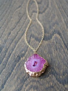Gold Dipped Pink Amethyst Necklace Stalactite by HFinnJewelry, $75.00