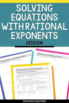 Solve equations involving rational exponents in this ready-to-print lesson. It includes notes, practice, warm-up, and exit ticket! Algebra Lessons, Algebra Worksheets, Algebra 2, School Worksheets, Printable Worksheets, Simplifying Radicals, Chemical And Physical Changes, Radical Expressions, Solving Equations