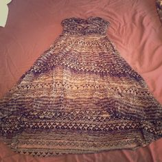 Free People High Low Sweetheart tribal sundress so comfy and gorgeous. purple/black/grey tribal print. sweetheart neckline. strapless. high low cut. gray cotton lining. Free People Dresses High Low