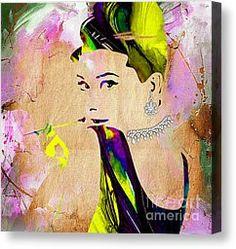 Audrey Hepburn Canvas Prints - Audrey Hepburn Diamond Collection Canvas Print by Marvin Blaine