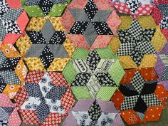 Diamond star hexagons, from Sewn by Leila