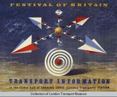 1951 Abram Games Art Deco Festival of Britain Transport Rail Poster
