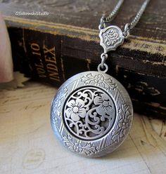 Antique Silver Wild Flowers Locket Necklace by gsakowskistudio, $23.00