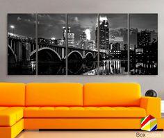 XLARGE 30x70 5 Panels Art Canvas Print Minnesota by BoxColors