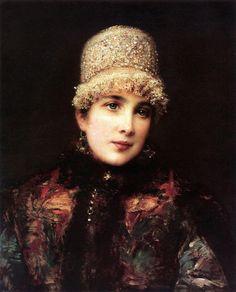 Young Russian Beauty In A Kokoshnik - Historical Fashion Russian Folk, Russian Art, Russian Style, Russian Icons, Russian Beauty, Russian Fashion, Salon Art, Russian Painting, Ukrainian Art