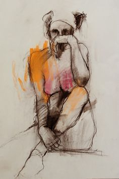 """""""Figure Study 4"""" by Harry Ally, seated nude female mixed media drawing. 2009. harryally.com"""