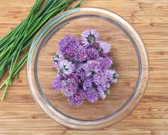 chive blossoms in bowl