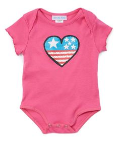 Pink Stars & Stripes Heart Bodysuit - Infant