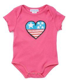 Pink Stars & Stripes Heart Bodysuit - Infant