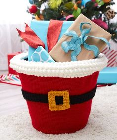 Santa's Gift Basket.  Covers a plastic laundry basket.  Use as decor or to stash clutter or gifts.