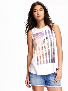 Relaxed Americana-Graphic High-Neck Tank -- Old Navy