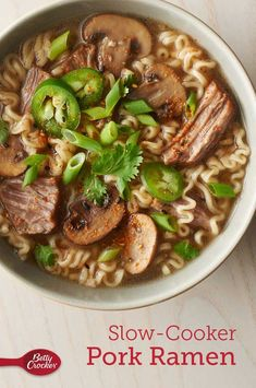 Forget the package you thought you knew: This slow-cooker ramen is satisfying and filled with rich flavor that a seasoning packet could never match, and is still easy to prepare. A boneless pork shoulder cooks in a broth enriched with ingredients like cremini mushrooms, green onions, gingerroot and garlic.