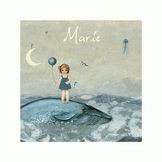 Gepersonaliseerde print, met de naam van jouw kindje - Schattig meisje met een ballon op een walvis - zeepaardjes - thema zee - Pimpelpluis - https://www.facebook.com/pages/Pimpelpluis/188675421305550?ref=hl