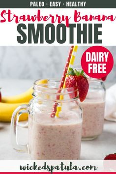 See how to make the BEST healthy strawberry banana smoothie recipe! This strawberry and banana smoothie is so delicious, you won't guess it's paleo, gluten-free, and vegan. Easy Healthy Smoothie Recipes, Paleo Recipes Easy, Healthy Foods, Strawberry Banana Smoothie, Apple Smoothies, Dairy Free, Gluten Free, Clean Eating Snacks, Vegan
