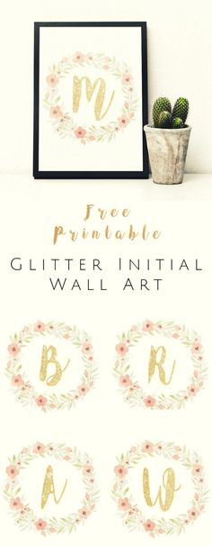 Free Printable Glitter Initial Wall Art Watercolor and glitter printable that's great for wall art #FreePrintable #WallArt #watercolor via: @okiehomeblog