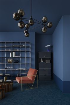 Blue walls and terracotta chair
