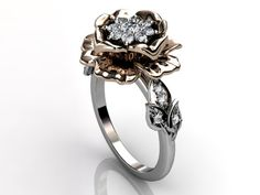 14k two tone white and rose gold diamond unusual unique cluster floral engagement ring, bridal ring, wedding ring ER-1053-5. $1,540.00, via Etsy.